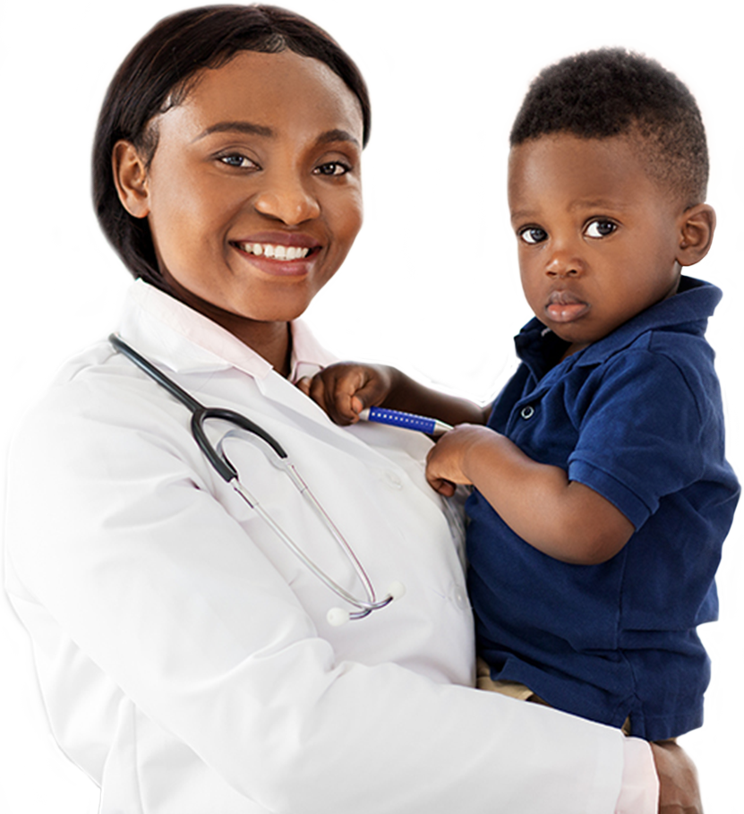 An image of a black female doctor in a white lab coat holding a small child in her arms while they both pose for the photograph